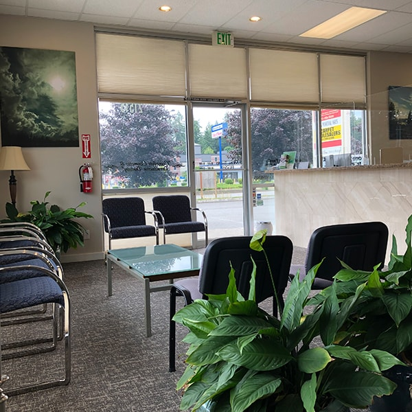 Our dental office showing the patient waiting room, office entrance and office decorations